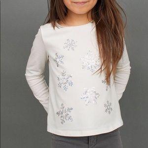NWT H&M Silver Snowflake Long Sleeve Top 4-6Y